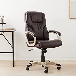Amazon Basics Executive Office Desk Chair with Armrests, Adjustable Height/Tilt, 360-Degree Swivel, 275Lb Capacity - Brow...