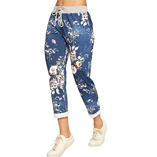 06ed64376e9de3 Fashion Lovers Womens Ladies Italian Floral Rose Printed Turn Up Trousers  Summer Beach Trouser Pants Denim