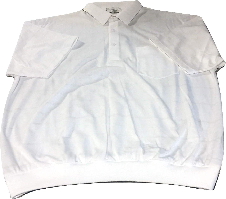 Big and Tall Banded Bottom Short Sleeve Horizontal Tone on Tone Polo Shirt