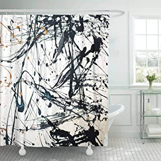 Emvency Fabric Shower Curtain with Hooks Red Modern Abstract Creative Hand Watercolor Pollock Jackson Contemporary Graphic Paint 72