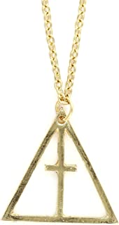 Triangle Cross Necklace Gold Tone NS19 Statement Trinity Pendant Fashion Jewelry