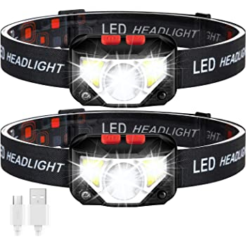 Rechargeable Headlamp - 1000 Lumens LED Headlamp Flashlight, Waterproof Usb Rechargeable Headlight with 8 Modes for Running Camping Cycling Hiking Fishing - 2 Pack