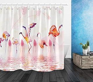JgZATOA Rideau De Douche Salle De Bain Rideau /Étanche Baignoire Rose Fleur Arbre Oiseau Rideau Anti-Moisissure Polyester Rideau De Salle De Bain 180X180 Cm
