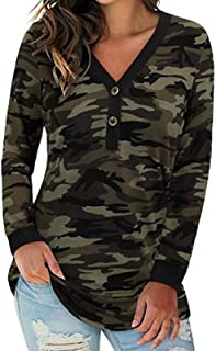 zxb-shop Womens Tunic Tops Leopard Print Shirt Long Sleeve V Neck Button Down Pullover Blouse Tee Casual Tops (Color : Cam...