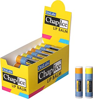 Chap-Ice SPF-15 Sunscreen Lip Balm – Almond Swirl & Vanilla Mint Flavors – 32-Count Multipack with Display Box