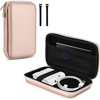 ProCase Hard Storage Carrying Case for MacBook Air/Pro Power Adapter, Portable Protective EVA Shockproof Case with 2 Cable Ties for MacBook Air/Pro Charger Cable, USB C Hub -Rosegold