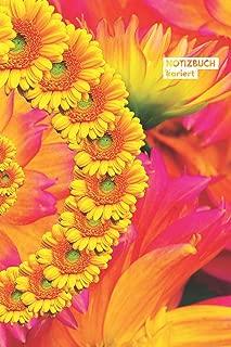 Notizbuch kariert: mit Karos / Graphpaper Notebook (6x9) A5 modisches Notizbuch 108 Seiten Blumen Rot Rosa Gelb (German Edition)