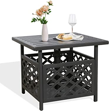 Ulax Furniture Outdoor Patio Umbrella Side Table Stand Patio Bistro Table Base with Umbrella Hole