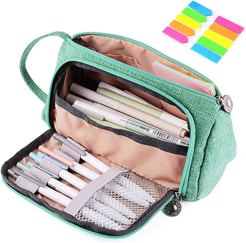 Pencil Case Yloves Big Capacity Pen Pencil Bag Pouch Box Organizer Holder For School Office Supplies With 2 PCS Index Tabs Green