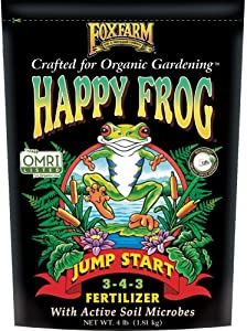 FoxFarm Happy Frog Garden Jump Start Soil Dry Plant Fertilizer Mix for Transplants and Re-Potted Containers with Beneficial Fungus, 4 Pound Bag (FX14670)
