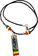 Gifts by Lulee, LLC Corded Necklace with Rasta Beads and Mood Tribal Pendant