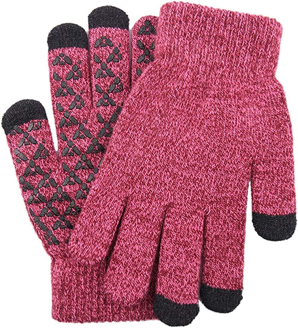 Touch Screen Knitted Gloves Men Women Thicken Wool Mitten Outdoors Anti-Slip Warmer Couple Gloves Women Rose red