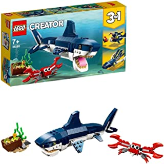 LEGO 31088 Creator 3in1 Deep Sea Creatures Shark, Crab and Squid or Angler Fish, Seaside Adventures Building Set, Toys for...