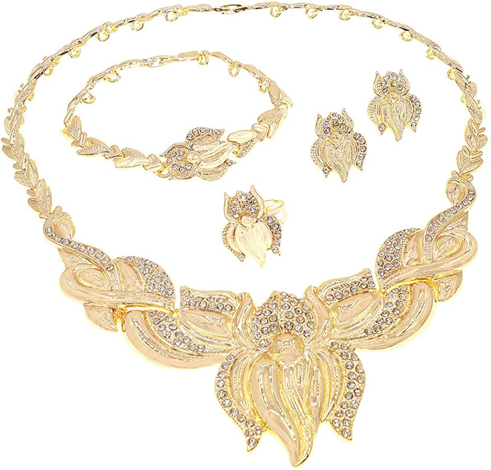 Women's Girl's Hugs & Kisses XOXO 4 Pieces Necklace Set Includes Necklace Bracelet Ring Earrings Layered Real Gold Plated #84
