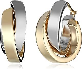 14k Gold Satin Polished Crossover Hoop Earrings