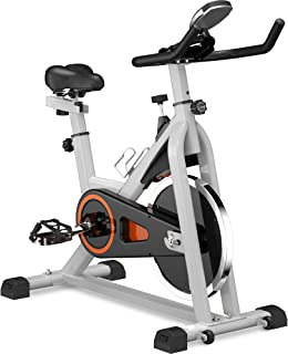 Indoor Cycling Exercise Bike, Belt Drive Stationary Bicycle, Spinning Bike with LCD Monitor and Oversize Soft Saddle for Home Gym Fitness Cycle Trainer Flywheel Sports,Spin Workout,Cardio Training