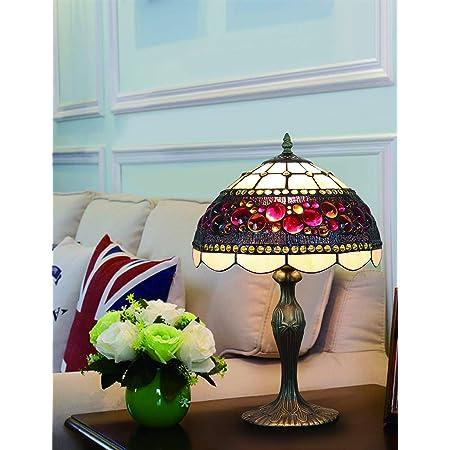 Lampe de table de style 12 pouces Vintage vitrail pastorale lampe de chambre lampe de chevet