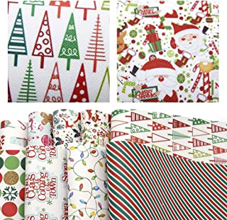 David accessories Christmas Snow Printed Faux Leather Sheets Synthetic Leather Fabric 9 Pcs 8