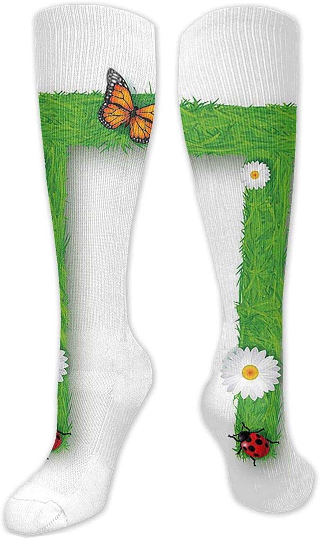 Compression High Socks-Caps T With Flourishing Fragrance Botanical Design And Ladybug Girls Theme,Socks Women and Men - Best for Running, Athletic,Hiking,Travel,Flight