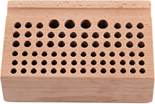 YaeTek Leathercraft Wooden Holding Organiser Wood Tool Stand Holder Rack Storage Box for Punches Stamps Tools 76 Holes