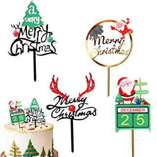 4 Pack Merry Christmas Cake Toppers Acrylic Cupcake Topper Santa Reindeer and Christmas Tree Cake Decorations for Merry Xm...