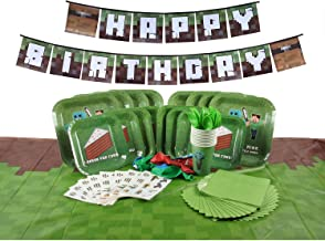 Deluxe Tableware Set for Pixel Mine Crafter Themed Parties with Happy Birthday Banner! (Serves 8) - Birthday Party Supplies - Tablecloth, Plates, Cups, Cutlery, Napkins, Balloons, 8 Bonus Gifts!