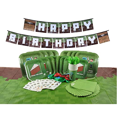 Deluxe Tableware Set For Pixel Mine Crafter Themed Parties With Happy Birthday Banner Serves