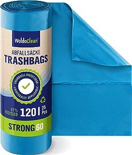 Afvalzakken 120 l extra sterk 60 μ 25 stuks 110 cm x 70 cm - 1 rol lekvrije vuilniszakken dik en scheurvast