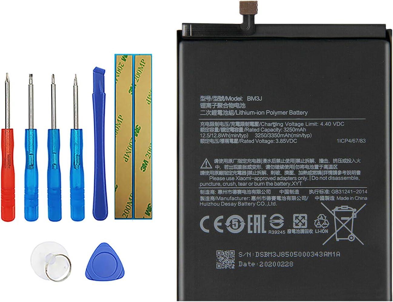 Vvsialeek BM3J Batería de repuesto compatible con Mi 8 Lite MI8 Lite Mi 8X M1808D2TG con kit de herramientas gratuito