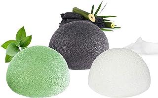 Éponge konjac visage, 100% naturelle (Lot de 3) pour l'exfoliation naturelle et le nettoyage profond des pores - Charbon d...