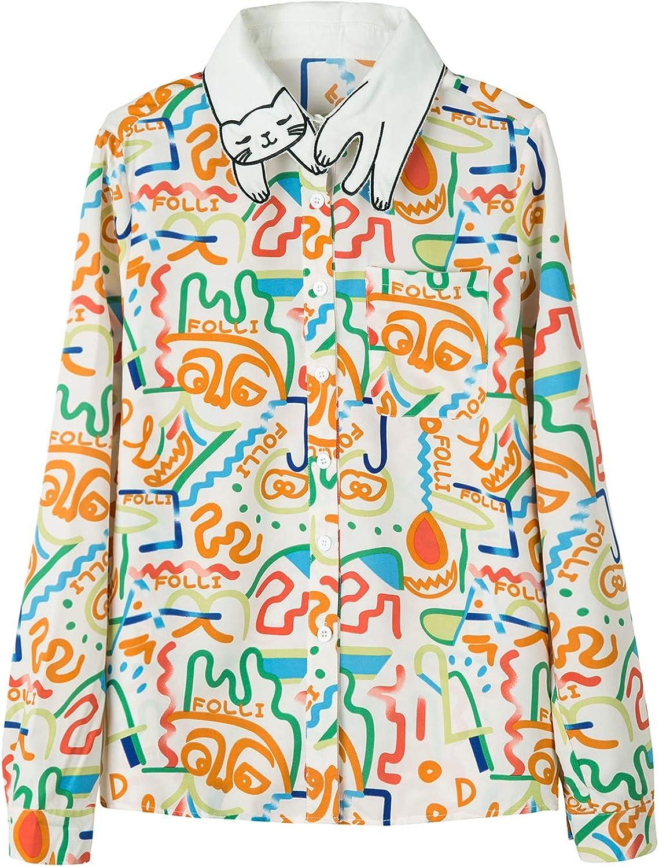 PERSUN Women's Cat Pattern Collar Blouse Button Down Long Sleeve Shirt