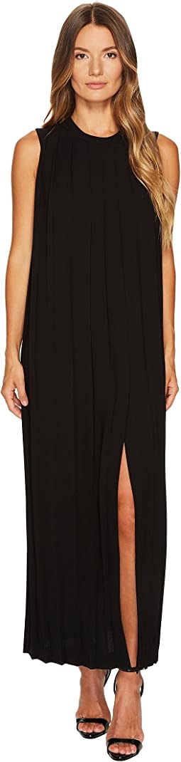 Sable' + Fine Gabardine Sleeveless Pleated Dress