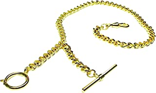 Gold Vest Pocket Watch Chain with T-BAR-205Y