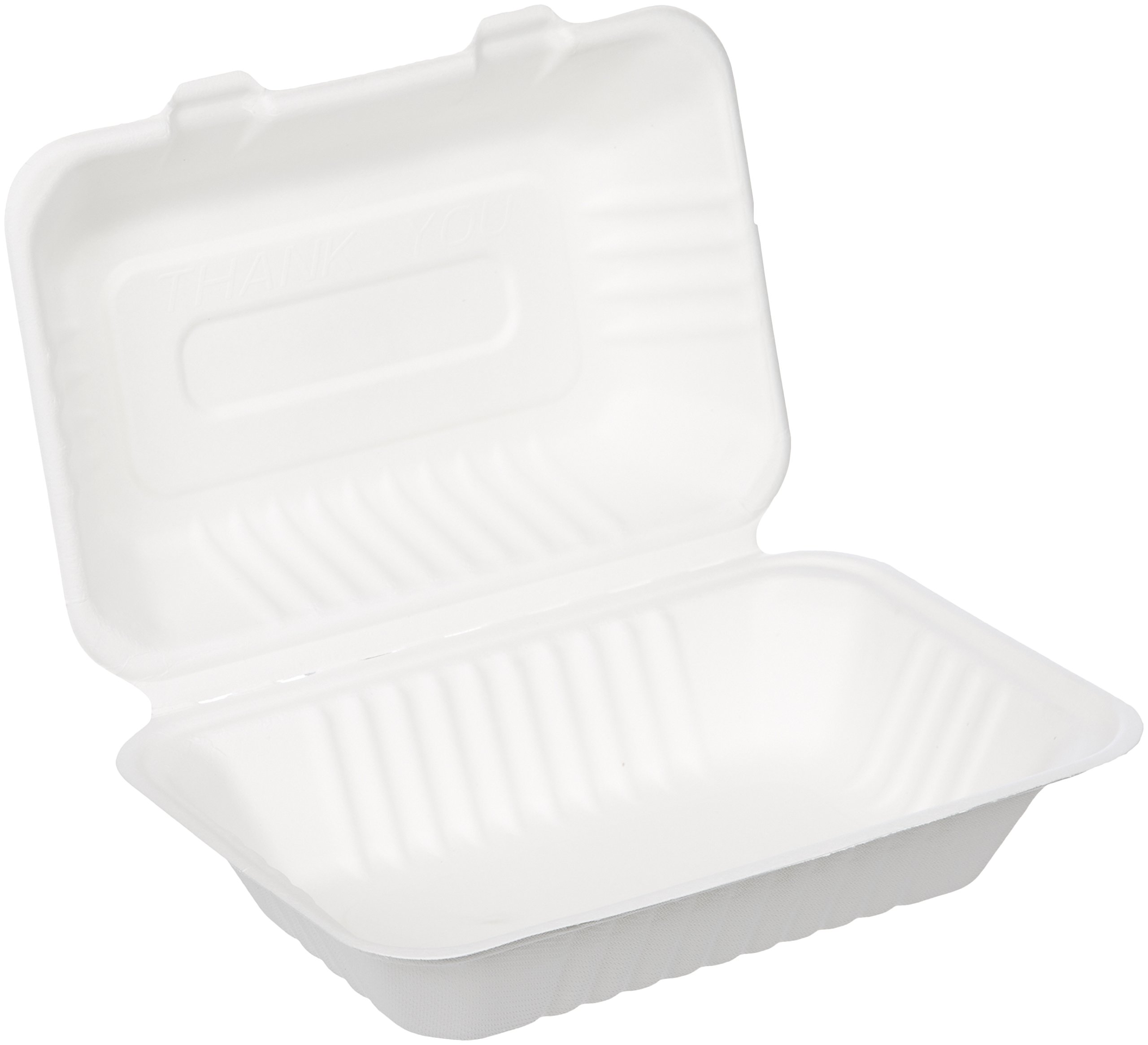 Pack of 300 eco Kloud 8 inch Bagasse Sugarcane Fiber Hinged Container 3-Compartment