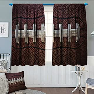 Sports Decor Collection Thermal Insulating Blackout Curtain American Football Themed Fun Traditional Sport Close Up Photo Pattern Patterned Drape For Glass Door 52