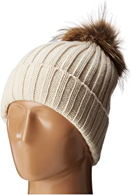 Chunky Rib Beanie with Snap-Off Faux Pom and Extra Hangoff