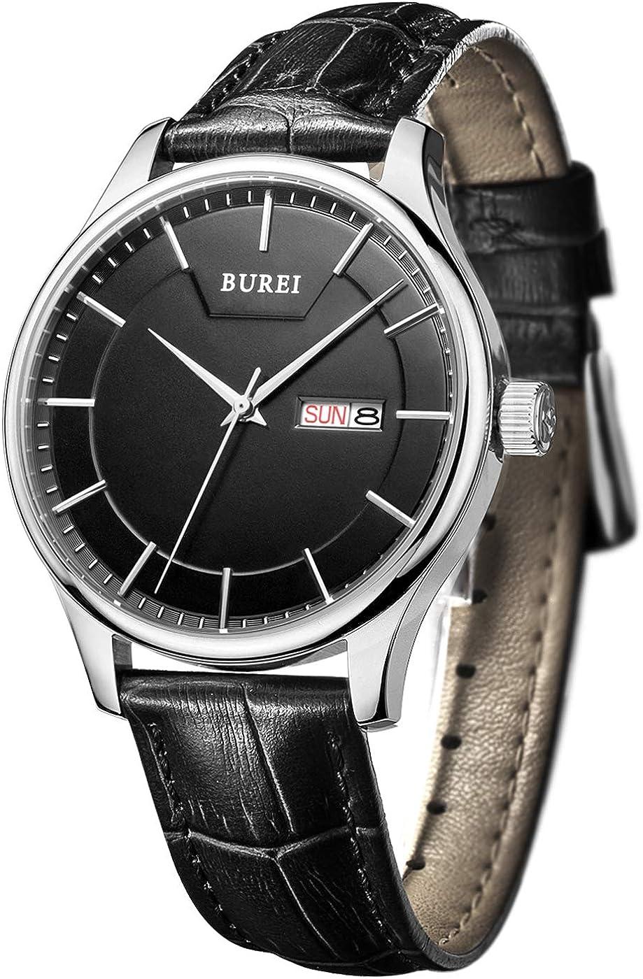 BUREI Relojes para Hombres Reloj de Pulsera clásico de Cuarzo preciso con Calendario de día y Fecha Correa de Cuero auténtico y Correa de Acero Inoxidable