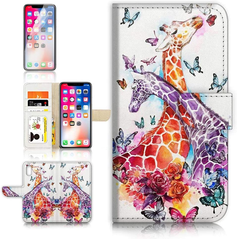 (for iPhone Xs/iPhone X) Flip Wallet Case Cover & Screen Protector Bundle - A31193 Giraffe