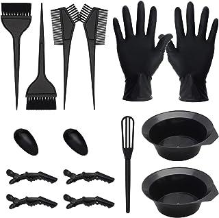 15 PCS Hair Coloring Dyeing Kit, Include Hair Tinting Bowl/Dye Brush/Mixing Spoon/Ear Cover/Gloves Hair Dye Tools for Hair Coloring Bleaching DIY Salon & Home Hair Coloring Hair Dryers(Black)
