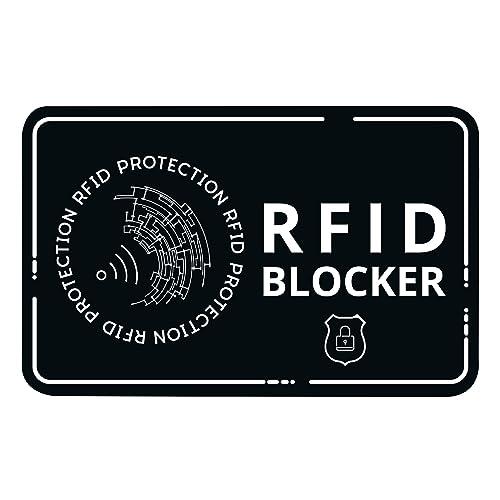 RFID Blocker Karte - Störsender ohne Batterie - Eine NFC Schutzkarte schützt Ihre gesamte Geldbörse gegen Datendiebstahl! Schutz für NFC Bankkarte, Kreditkarte, EC Karte (Schwarz)