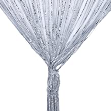 String Curtain Panel, Glitter Door Wall Window Doorways Panel Fly Screen Fringe Room Divider Blinds, Decorative Tassel Ribbon Strip Silver Screen for Living Room, Bedroom, Party Events-Grey