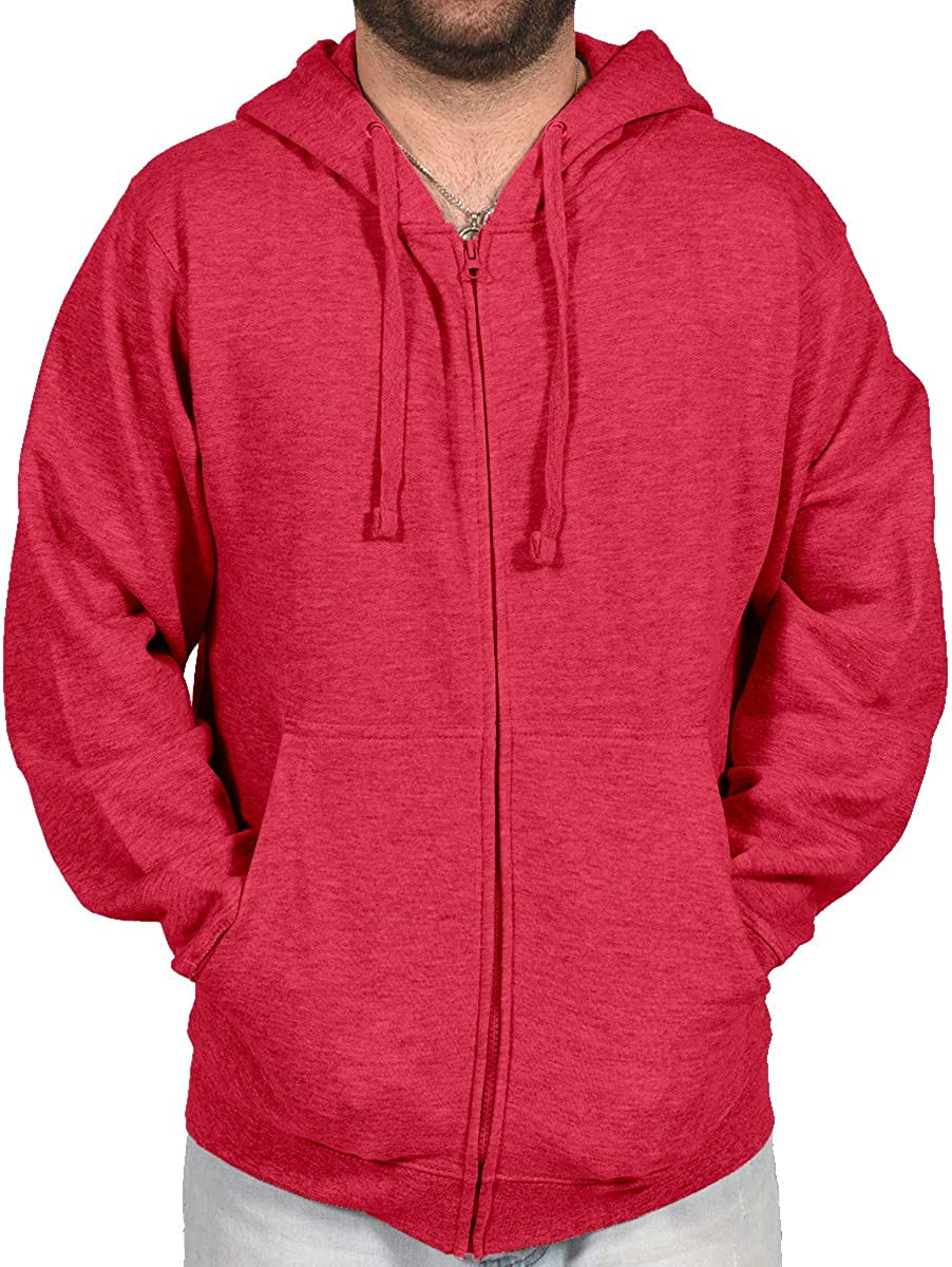 Licensed Mart Mens Hipster Hip Hop Basic Zip-Up Hoodie Lightweight Fleece Jacket
