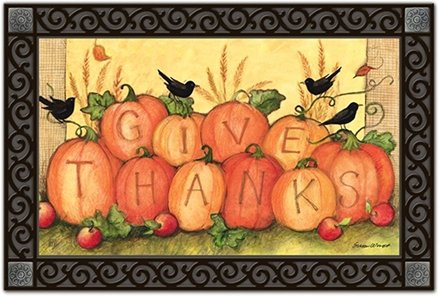 Give Thanks Scarecrow Autumn MatMates Doormat Fall   Thanksgiving Indoor Outdoor 18 x30
