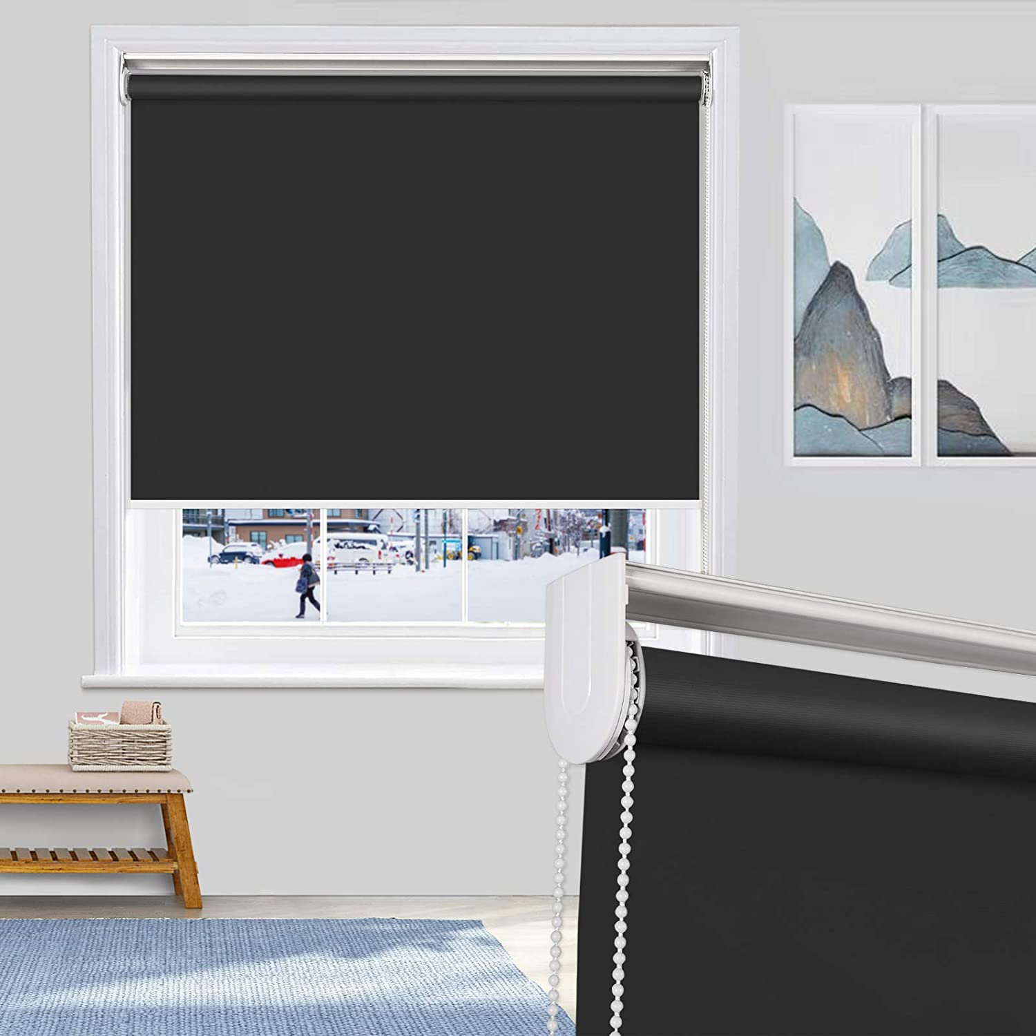 MiLin 100% Blackout Roller Shades アウトレットセール 特集 Fast Roll Delivery Window お買い得 UPS