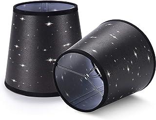 YISUN Juego de 2 pantallas para lámpara de araña, mini candelabro de cristal de 5.5 pulgadas, campana, clip, color negro