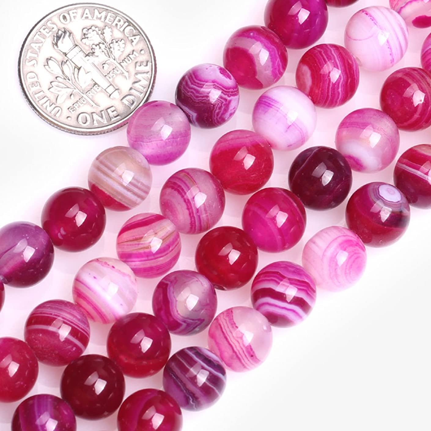 GEM-inside Banded Plum Agate Gemstone Loose Beads Natural Energy Power Beads For Jewelry Making Round 8mm 15