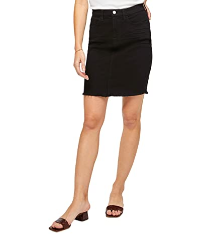 JEN7 Pencil Skirt w/ Fray Hem (Black) Women