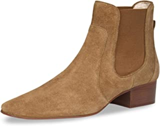 Saint G Tan Leather Block Heel Ankle Boots for Women