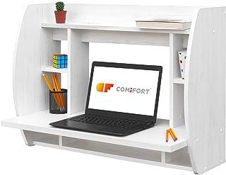 COMIFORT Escritorio Colgante - Mesa de Pared con Librería de Estructura Firme Moderna y Minimalista con Baldas Espaciosas...