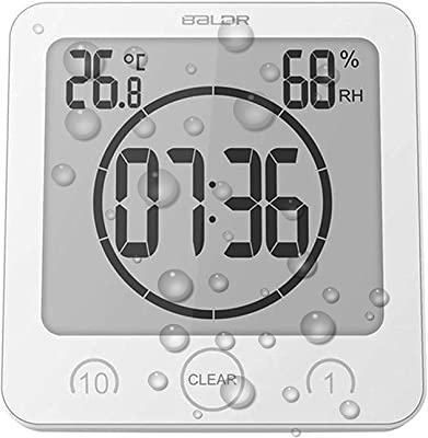 Digital Shower Wall Clock with Timer Temperature Humidity Monitor, Waterproof Bathroom Clocks for Water Spray